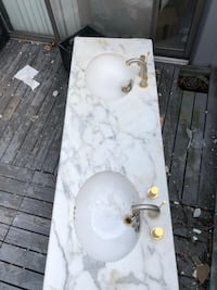 "Marble counter top 60"" Calcutta with double sinks"