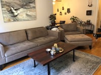 Taupe colored mid century modern style couch, chair and ottoman set Los Angeles, 90025