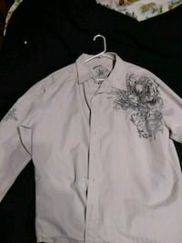 white and grey floral button-up long-sleeved shirt Owensboro, 42303