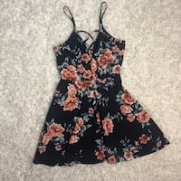 Navy Blue Floral Dress with Criss-Cross V-Neck Hyattsville, 20783