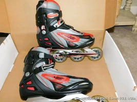 pair of black-and-red inline skates