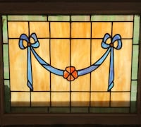 Antique Tiffany swag 2 panels of stained glass