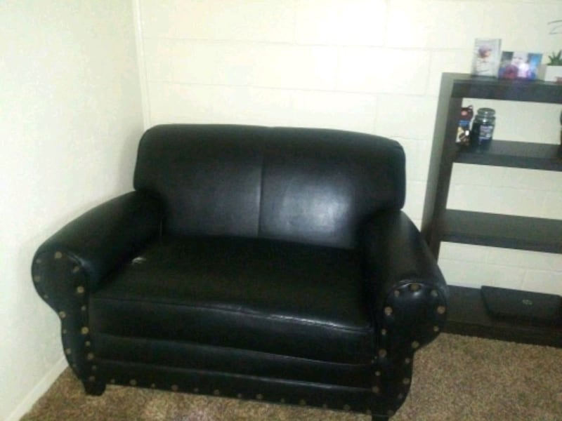 Faux Leather Loveseat 0