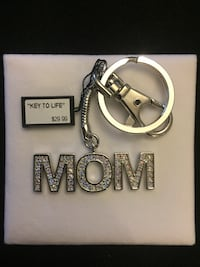 Silver-colored mom keychain