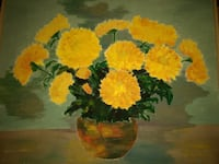 yellow Daisies in brown vase painting