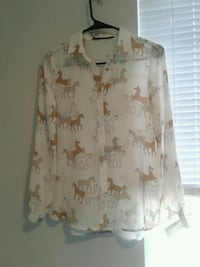 white and brown floral button-up shirt Salem, 97317