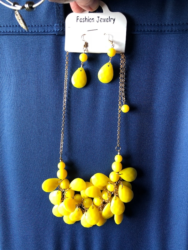 Brand new beaded earrings and necklace