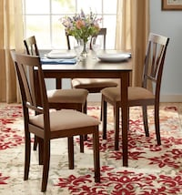 Rectangular brown wooden table with four chairs dining set Bristow, 20136