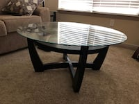 Round brown wooden framed glass top coffee table Orlando, 32839