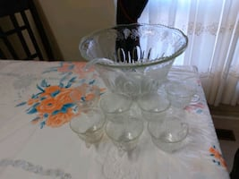 Punch bowl  9 pieces