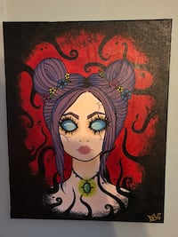 """Limited edition original acrylic painting artwork of """"the void"""" creepy beautiful haunted doll like woman girl trapped in abyss on canvas East Northport, 11731"""