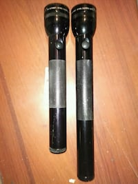 two black handheld flashlights