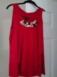 women's red with rhinestone encrusted blouse