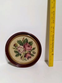 round brown wooden framed painting of flowers Tulsa, 74146