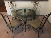 Round Glass Top Dining Table and 4 Chairs Columbia