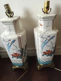 Hand painted ceramic lamp pair with birds Toronto, M2R 3N1