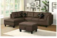 black fabric sectional sofa with ottoman