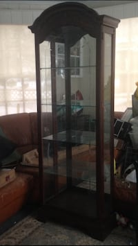 brown wooden framed glass display cabinet Fair Lawn, 07410