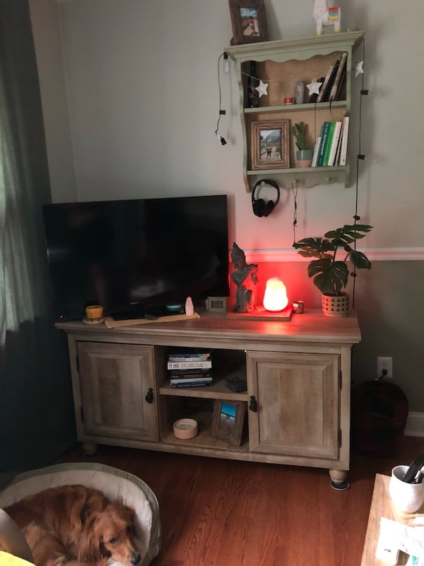 *Pending pickup* Tv stand/ coffee table with shelving and doors b9c8116b-a6f5-4247-a076-717180f59d51