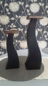 Two wooden candle holders  Brampton