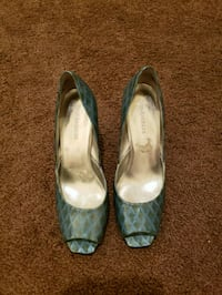 Enzo Angiolini Blue Green open toe pump Odenton