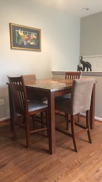 Rectangular brown wooden table with four chairs dining set Woodbridge, 22192