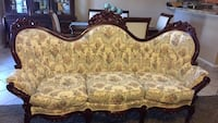 Beautiful 3 piece Victorian sofas in very good condition. Custom made,floral tapestry on cherry wood carved .