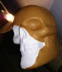 Brown/white skull candle Corpus Christi