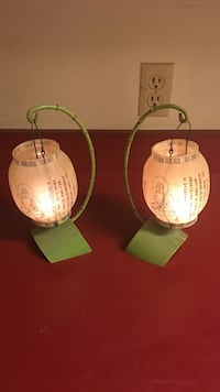 two green steel base with white shade table lamp