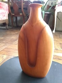 """Unique Wooden  14"""" tall Vase, made in Italy New York, 10010"""