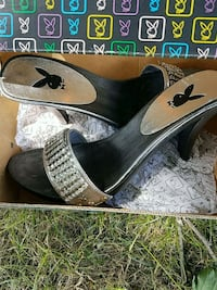 Size 6. Playboy silver and rhinestones shoes