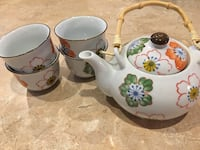 white and green floral ceramic tea set Meridian, 83642