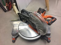 Gray and brown ridgid miter saw