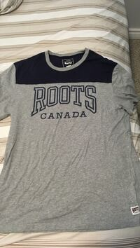 gray and black Roots Canada print t-shirt Ajax, L1T 4K9