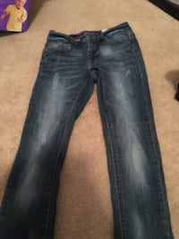black washed distressed straight jeans