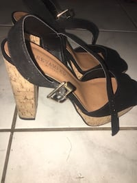 pair of black leather open toe ankle strap heels Abbotsford, V2S 8C4