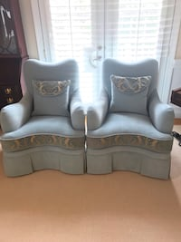 NEWLY CUSTOM MADE CALICO CORNERS AQUA & GOLD CLUB CHAIRS  Arlington, 22207