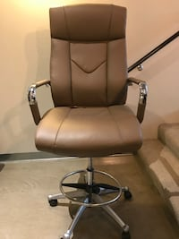 Light Brown Plush Leather Office Chair