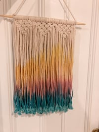 Dipped dye rainbow macrame art