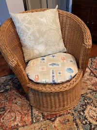 Wicker chair with cushion & pillow