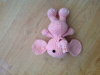 pink knitted elephant plush toy