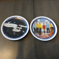 "2 Star Trek Voyages of Starship 1991 Collector Plates 4.25"" Toms River"