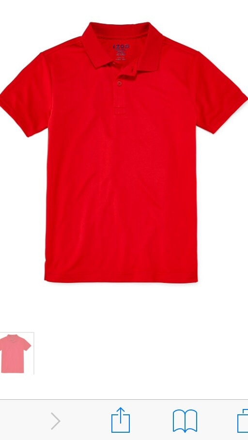 Izod performance boys red polo shirt