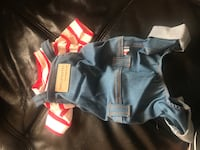 OVERALLS WITH RED STRIPE SHIRT ATTACHED FOR LITTLE PUPPY Coquitlam, V3K 5K8