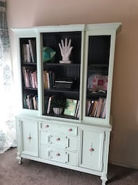Painted Vintage Hutch Shelf Mint and Gray.