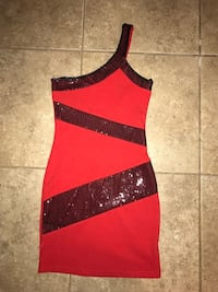 red and black 1-strap dress