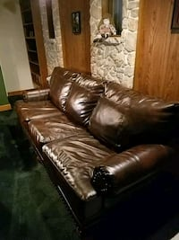 brown leather 3-seat sofa Indianapolis