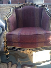 Black and gold wooden framed padded armchair Los Angeles, 91316