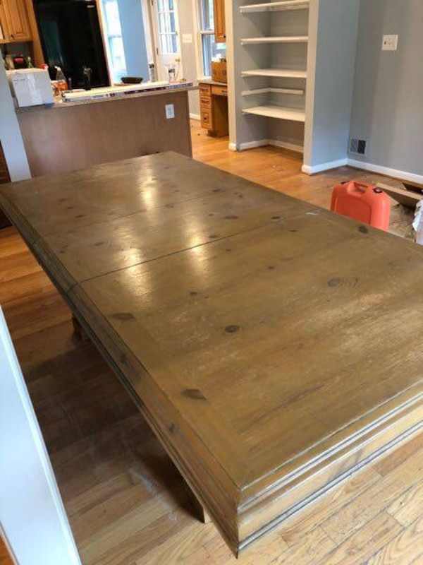 """Dining Room Table- Needs minor repair/refinishing 75""""x44""""x30""""— 93"""" w/ Leaf Extension"""