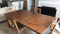 rectangular brown wooden dining table with chairs set Los Angeles, 90025